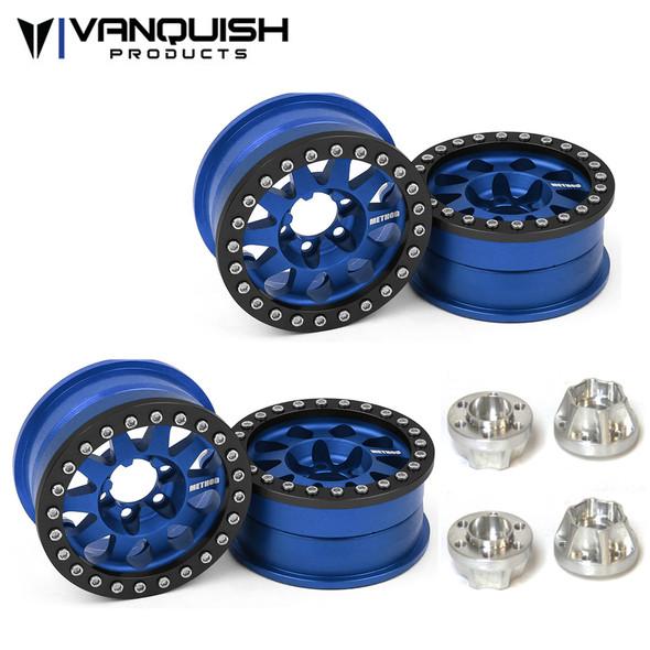 Vanquish Method 1.9 Race Wheel 101 Blue Anodized V2 (4) w/ SLW 475 Wheel Hubs (4)