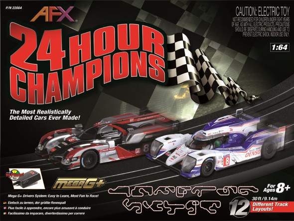 AFX 22004 24 Hour Champions MegaG+ Racing Set 12 Different Track Layouts 1:64 HO Slot Car
