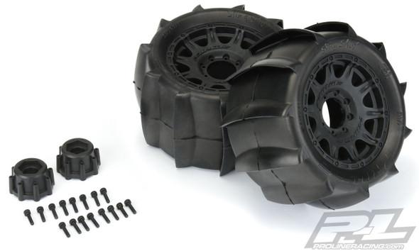 "Pro-Line 1179-10 Sling Shot 3.8"" Sand Tires Mounted w/ 17mm MT F/R Black Wheels"