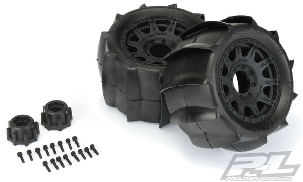 "Pro-Line 1179-10 Sling Shot 3.8"" Sand Tires Mounted w/ 17mm MT F/R Black Wheels"