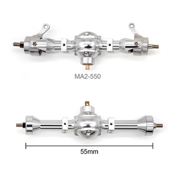 Orlandoo Hunter Model 55mm Metal Front & Rear Axle Set Silver : 1/35 / 1/32