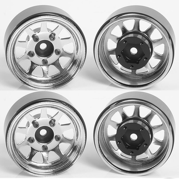 """RC4WD Z-W0264 OEM Stamped Steel 1.55"""" Beadlock Wheels Chrome (4)"""