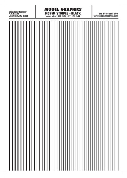 Woodland Scenics Stripes Black .010 - 3/64 MG759