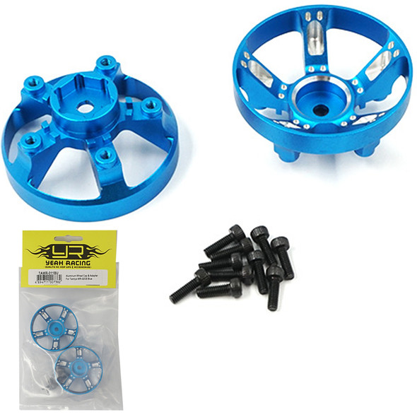 Yeah Racing TAWR-011BU Aluminum Wheel Cap Cover Blue : Tamiya WR-02CB