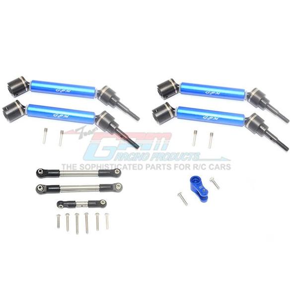 GPM Stainless Steel Tie Rod+25T Servo Horn F/R Adj CVD Drive Shaft Blue : Maxx