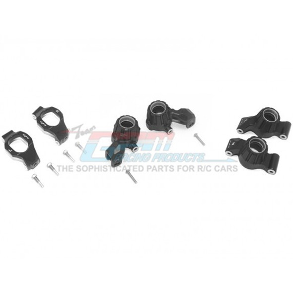 GPM Racing Alum Front C-Hubs + Front & Rear Knuckle Arms Black : Maxx