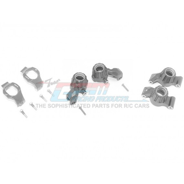 GPM Racing Alum Front C-Hubs + Front & Rear Knuckle Arms Grey : Maxx