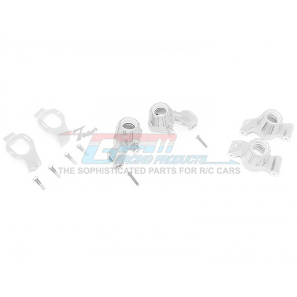 GPM Racing Alum Front C-Hubs + Front & Rear Knuckle Arms Silver : Maxx