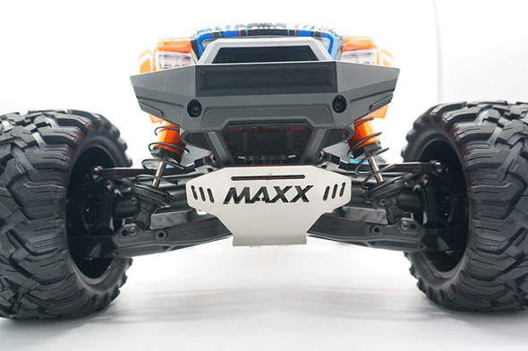 GPM Racing Stainless Steel Skid Plates Front / Center / Rear Chassis Set: Maxx