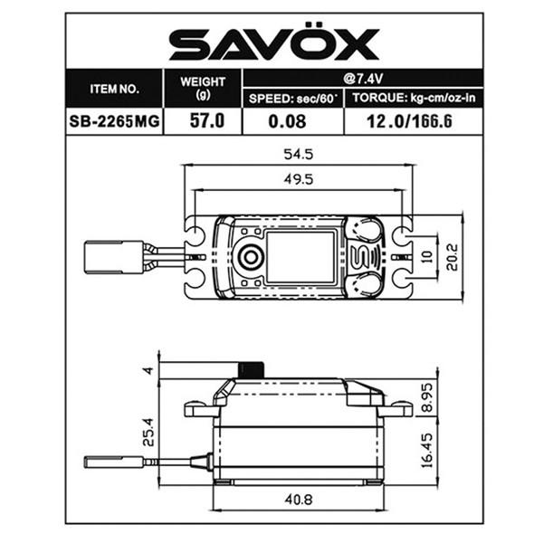 Savox Black Edition Low Profile HV Brushless Metal Steel Gears HS Digital Servo 0.08sec