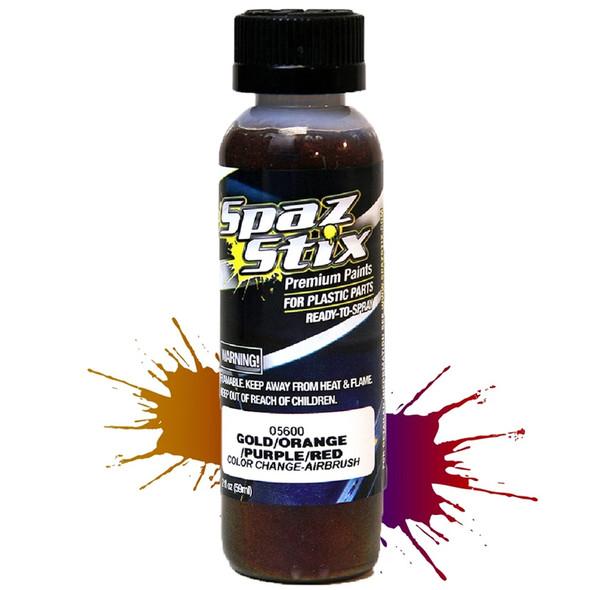 Spaz Stix Color Change Airbrush Ready Paint Gold/Orange/Purple/Red 2oz Bottle