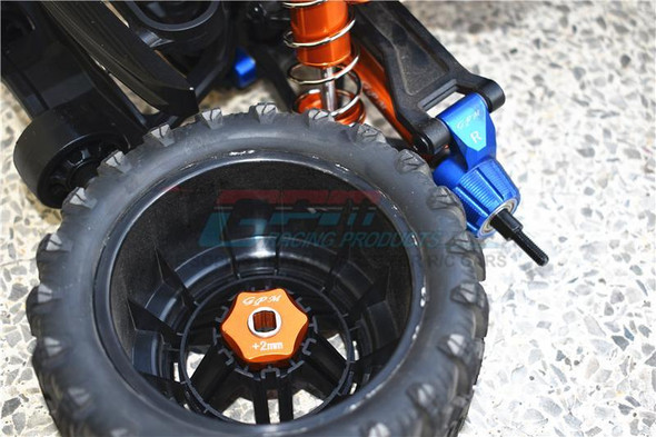 GPM Alum Front & Rear Adjustable CVD Drive Shaft+Hex Adapter +2mm Blue : Maxx