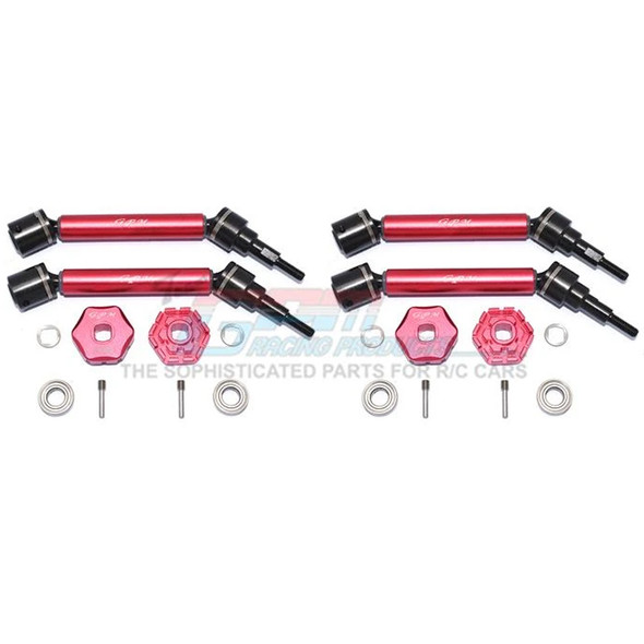GPM Alum Front & Rear Adjustable CVD Drive Shaft+Hex Adapter +2mm Red : Maxx
