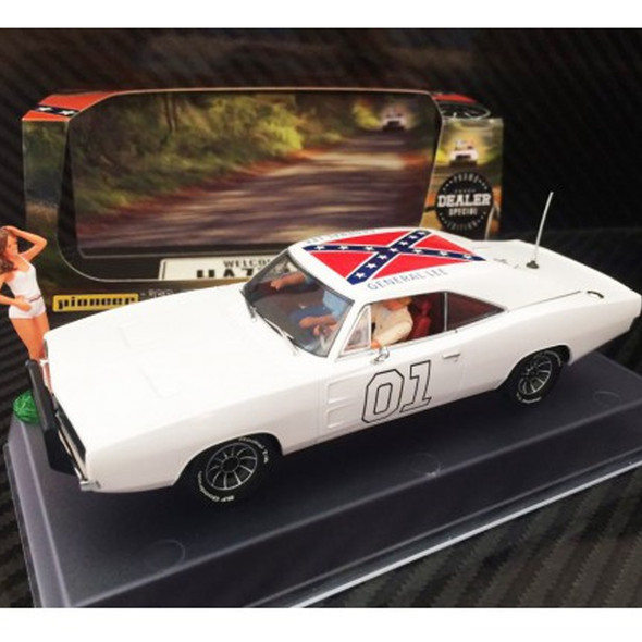 Pioneer P026-DS Dodge Charger White General Lee Dealer Special Slot Car 1/32 Scalextric DPR