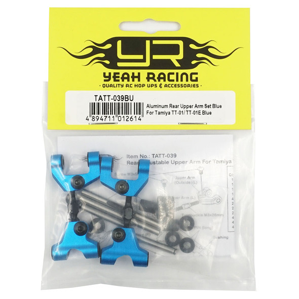 Yeah Racing TATT-039BU Alum Rear Upper Arm Set Blue : Tamiya TT-01/ TT-01E