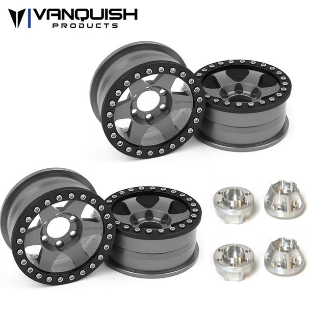 Vanquish Method 1.9 Race Wheel 310 Grey Anodized (4) w/ SLW 475 Wheel Hubs (4)