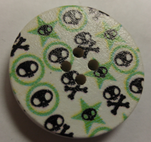 111029 Wood Painted Skulls (30mm)