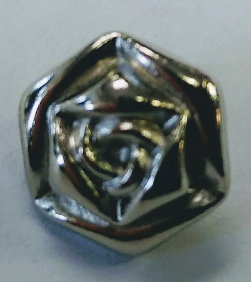 999045 12mm Silver Rose w/ Shank Metal