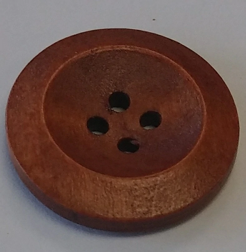 111047 Wood 25mm Round Tan 4 Hole