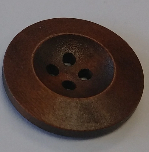 111049 Wood 25mm Round Brown 4 Hole