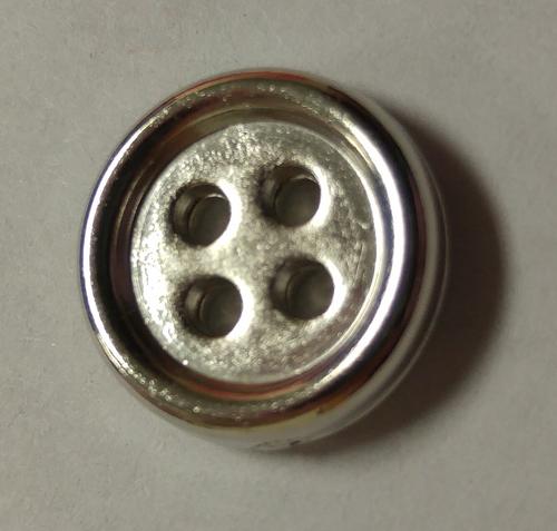 555070 Round Acrylic 4 Hole Silver 12mm