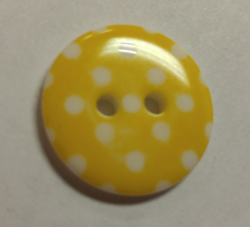 555073 Round Resin 2 Hole Yellow w Dots (18mm)