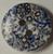 111030 Wood Round 2 Hole White w Blue Flowers (15mm)