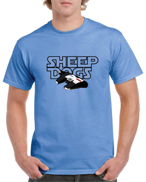 "Features our Millennium Falcon ""06"" Patrol Car spin off covering the words ""Sheep Dogs."" Grab one before they his hyper-speed and disappear."