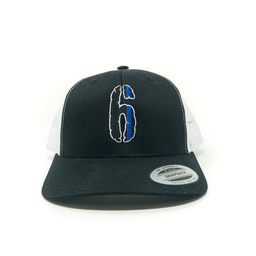 "6 Yupoong ""Snap back"" Hat, black on white."