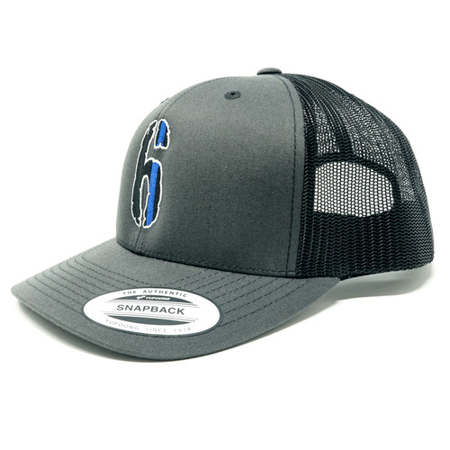 6 Hat (Snap back, black on gray)