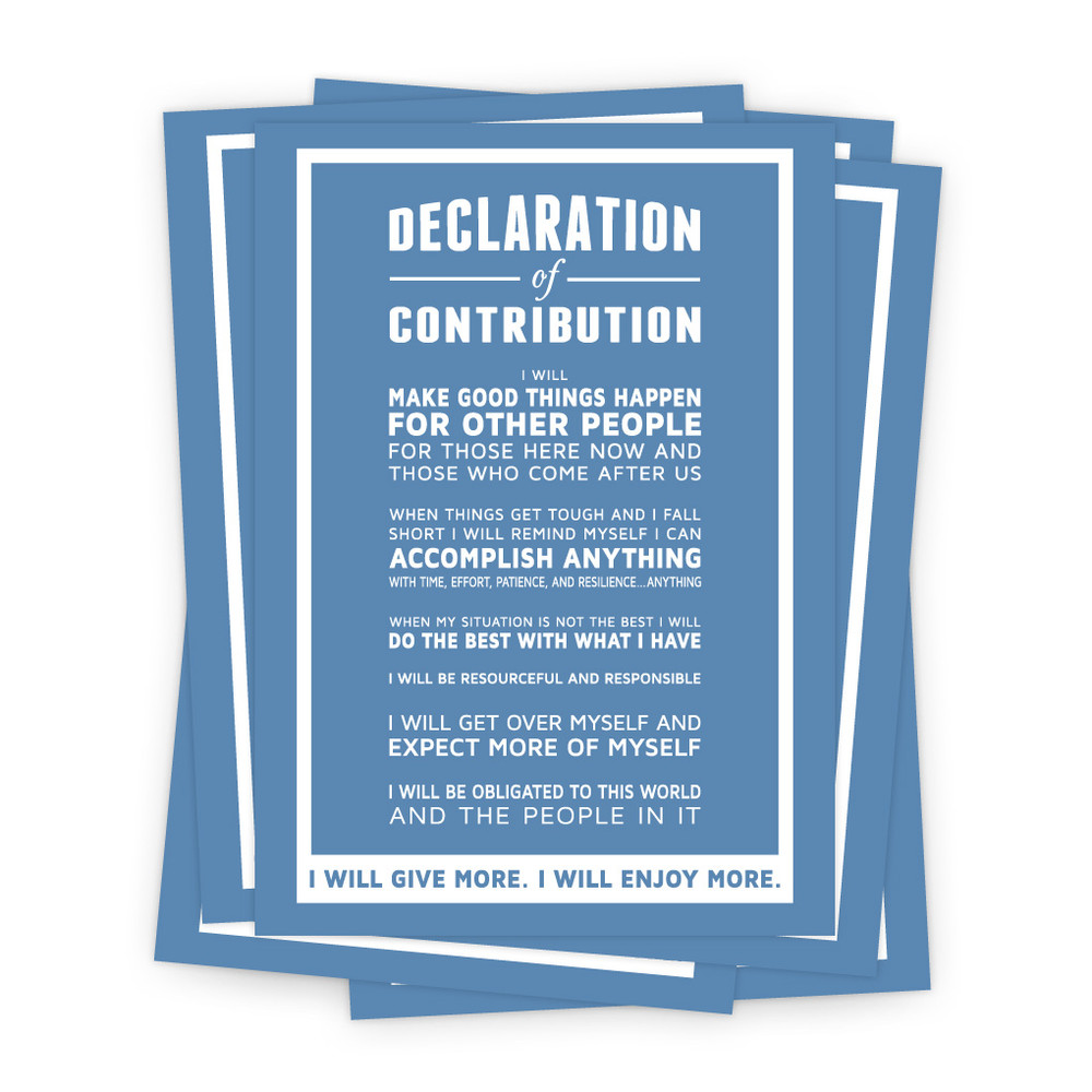 Declaration of Contribution 5 in. x 7 in. Prints - blue