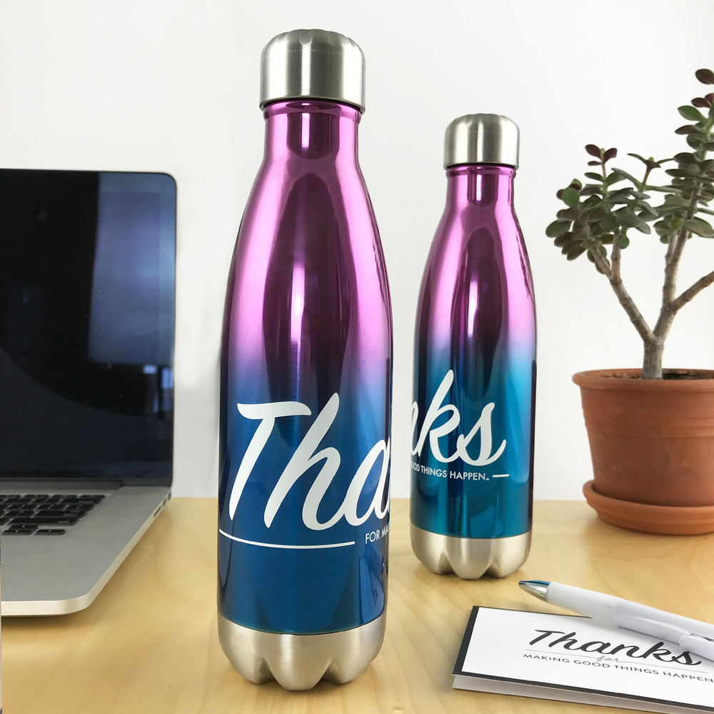 'Thanks for Good Things' Stainless Steel Bottle (17oz Gradient Gloss)