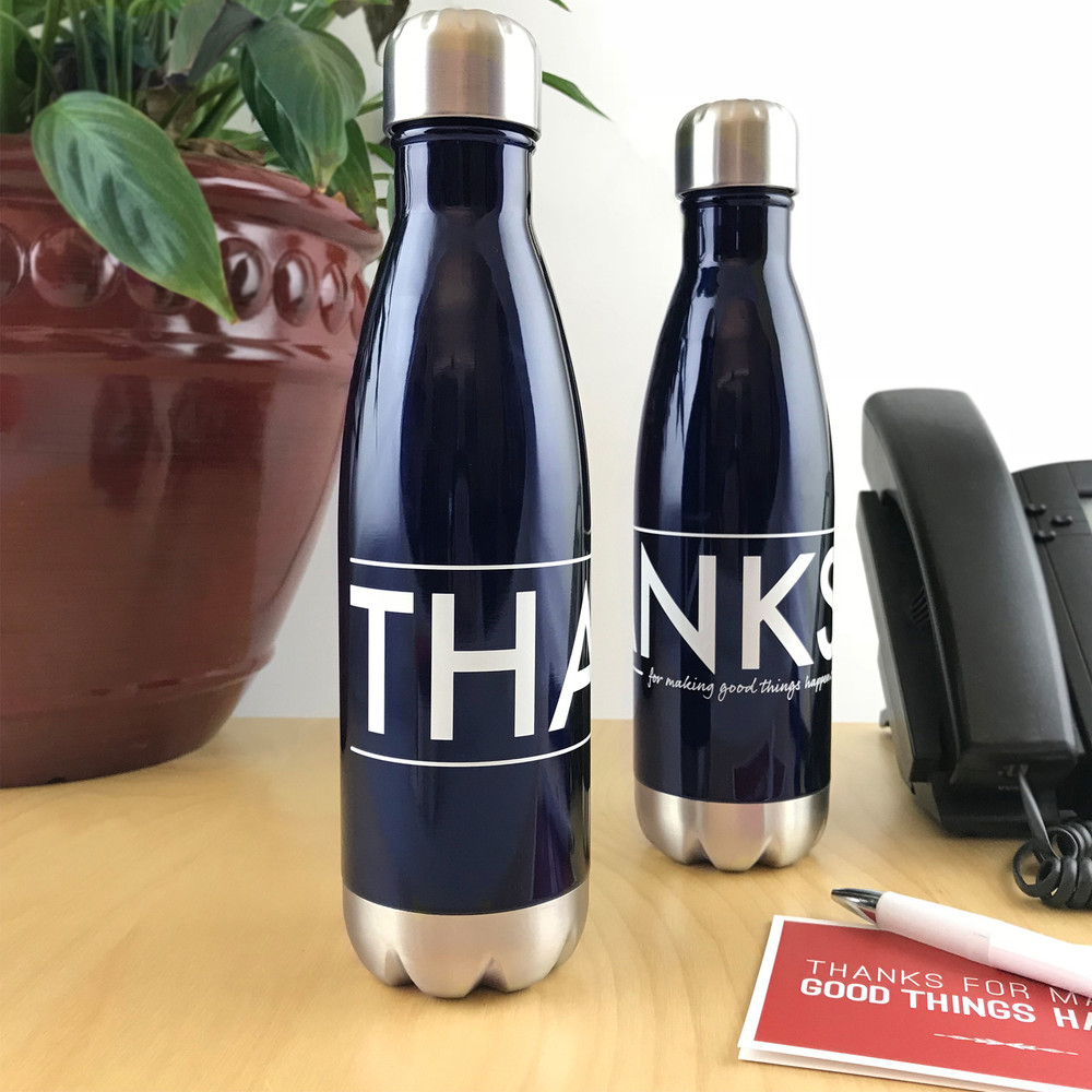 'Thanks for Good Things' Stainless Steel Bottle (17oz Navy Blue Gloss)
