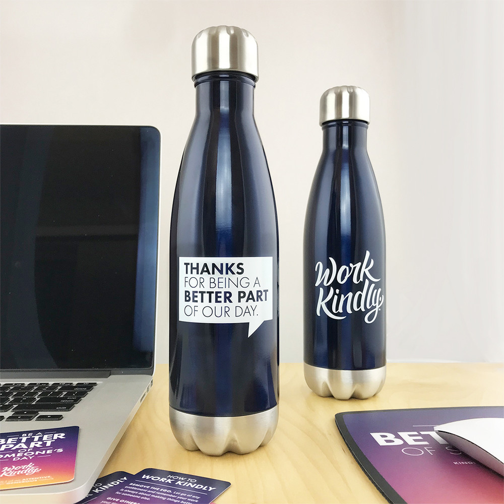 Work Kindly 'Thanks for' Stainless Steel Bottle (17oz Navy Blue Gloss)