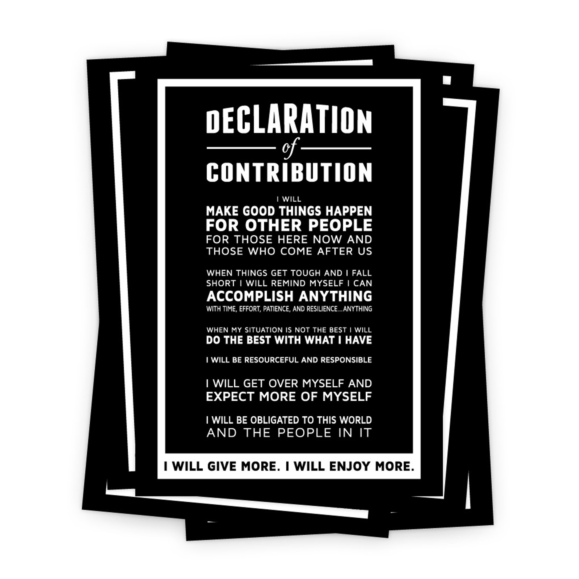 Declaration of contribution 5 in x 7 in prints black inspireyourpeople com