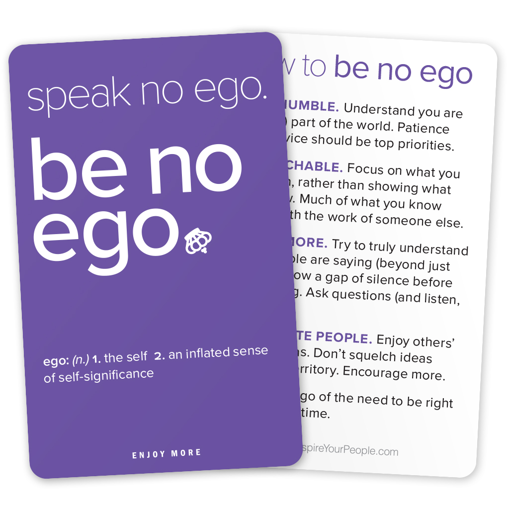 Be No Ego pocket cards