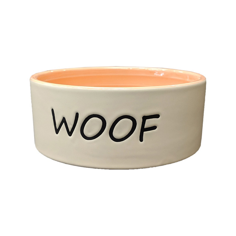 "Woof Dog Dish Coral 5"""