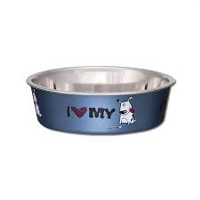 Bella Bowl I Love My Dog Blue