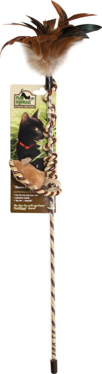 OurPets Play N Squeak Teaser Wand- Bounce N Play