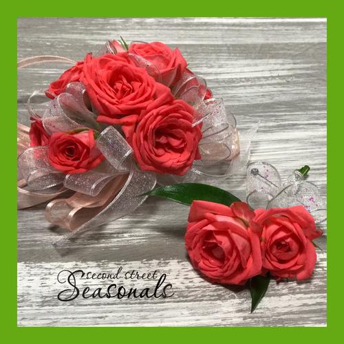 Coral Rose Corsage & Boutonnière
