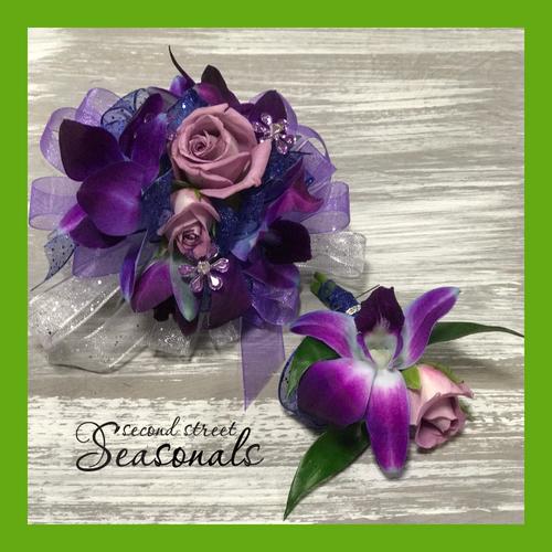 Bombay Orchids & Roses Corsage & Boutonnière