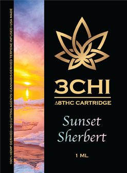 3 CHI Delta-8 Vape Cartridge 1ml - Sunset Sherbert