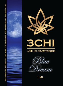 3 CHI Delta-8 Vape Cartridge 1ml - Blue Dream