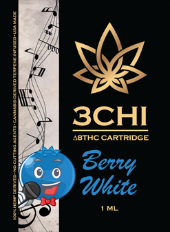 3 CHI Delta-8 Vape Cartridge 1ml - Berry White
