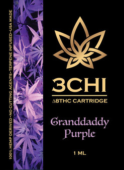 3 CHI Delta-8 Vape Cartridge 1ml - Granddaddy Purple