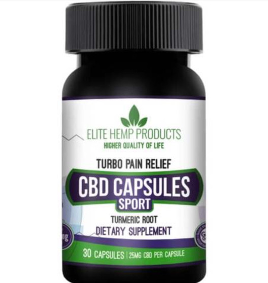 Elite Hemp Turbo Pain Relief CBD Capsules - 25mg Turmeric Root