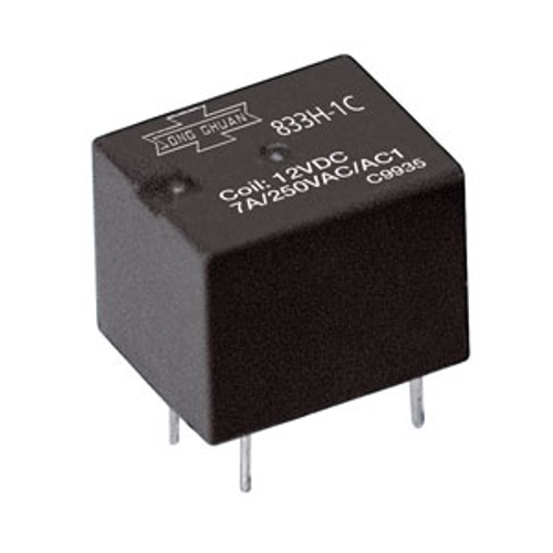 833H-1C-C PCB Mount Relay 12VDC 7A/250V SPDT