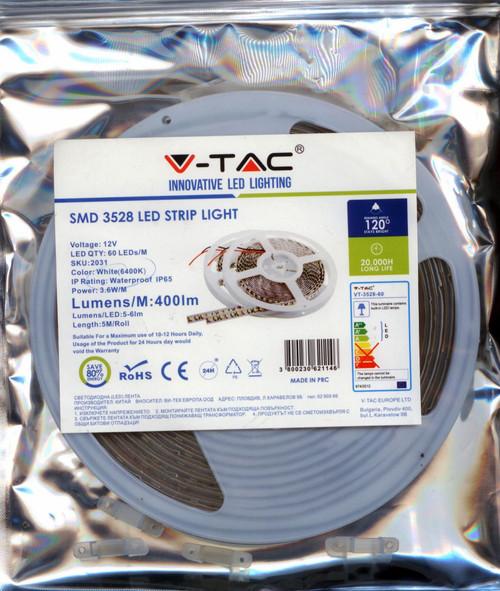 LED-STRIP-5M-60LED-WHITE-IP65 SKU:2031 V-TAC 6500K IP65 LED STRIP LENGTH:5MTR /PER ROLL 400L/METER