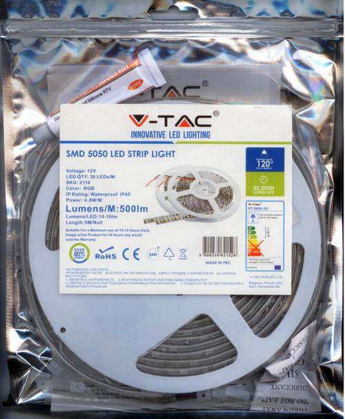 LED-STRIP-RGB-5M-5050 SKU:2118 V-TAC RGB LED STRIP LENGTH 5MTR /ROLL500L/METER WATERPROOF IP65