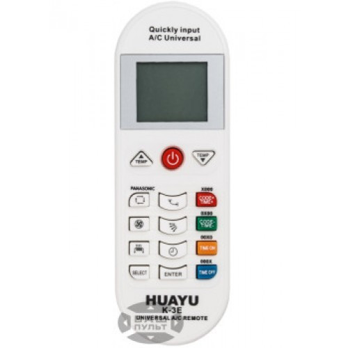 UNIVERSAL REMOTE FOR ANY AC K-E3 UNIVERSAL AIR CONDITIONER Remote Control. The K-E3 is the newest model in remote controls .It can operate with over 5000 different Air-Condition models world wide. Its new add-ons such as the child lock feature, the new clock mode, its sleek new design as well as its larger LCD screen will make you adore it. With a working radius of more than 8 meters. It accepts 2 AAA type batteries.